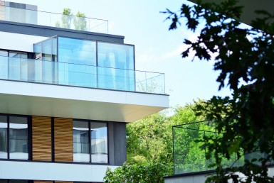 european modern residential architecture. fragment of a modern a